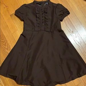 Brown formal GAP 5T dress with ruffle/bow/buttons